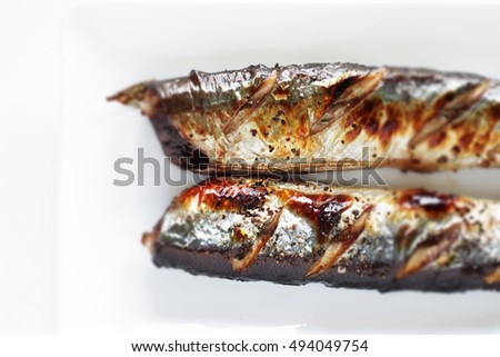 griled herbal salt on pacific saury from Japan for Autumn gourmet image