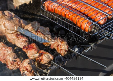 grill, barbecue, sausage, lunch, picnic, - stock photo