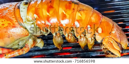 Grill lobster cooking seafood street food and beach bbq