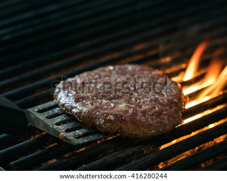 Grill meat steak on barbecue - stock photo