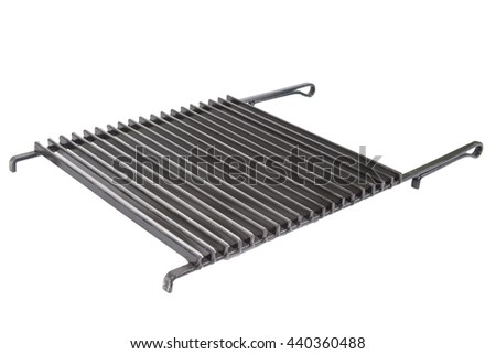 grill on barbecue over charcoal closeup isolated on white - stock photo