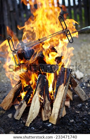 Grill on wood fire getting heat up for barbecue - stock photo
