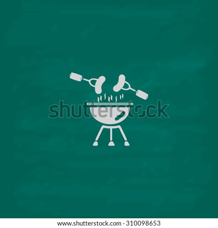 Grill Or Barbecue.  Icon. Imitation draw with white chalk on green chalkboard. Flat Pictogram and School board background. Illustration symbol