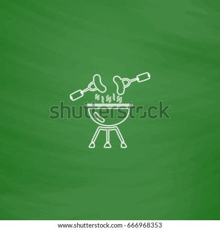 Grill Outline icon. Imitation draw with white chalk on green chalkboard. Flat Pictogram and School board background. Illustration symbol
