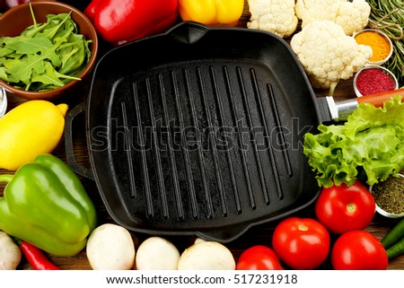 Grill pan with fresh ingredients