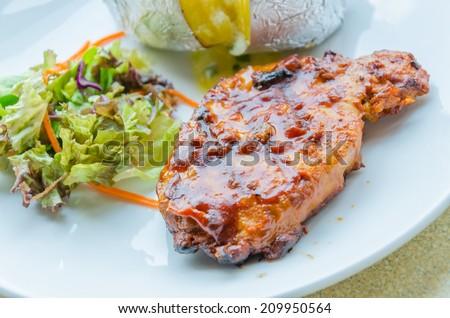 Grill pork steak - stock photo