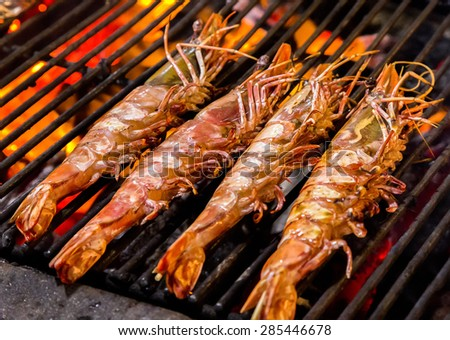 Grill prawn cooking seafood - stock photo