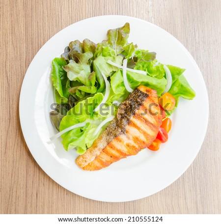 Grill salmon salad - stock photo