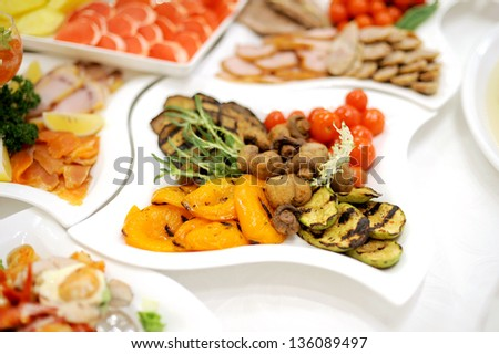 grill vegetables on wedding table