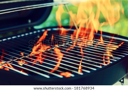 Grill With Big Flame  - stock photo