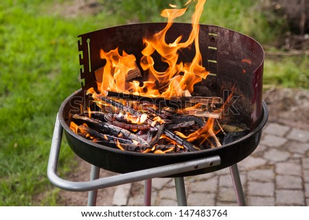 Grill with charcoal,woods and flames, close-up - stock photo