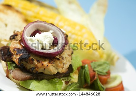 Grilled Bacon Turkey Burgers topped with goat cheese, red onion, and barbecue sauce. - stock photo