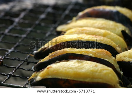 grilled banana - stock photo
