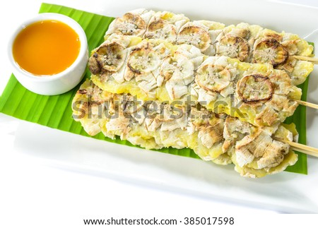 grilled bananas with sweet sauce (Thai dessert style)