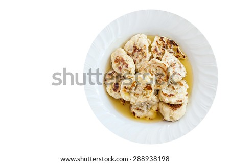 Grilled bananas with syrup isolated on white background, dessert in Thailand - stock photo