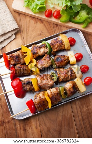 grilled barbecue on stainless steel tray - stock photo