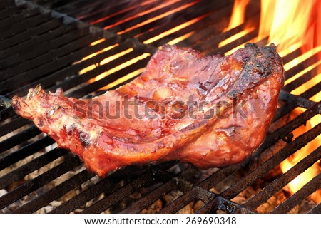 Grilled Barbeque Spicy Marinated Pork Ribs At Outdoor Party. Hot Charcoal Grill With Flaming Embers In The Background - stock photo