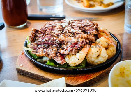 Grilled beef and shrimp maxican food