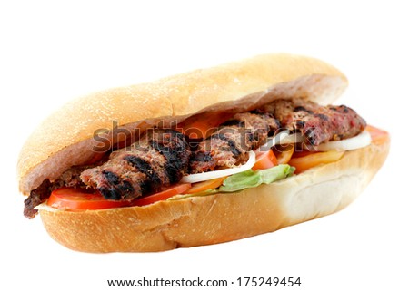 Grilled beef sandwich isolated on white - stock photo