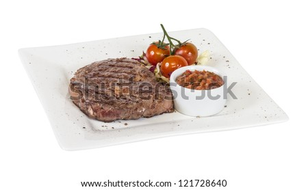 Grilled Beef Steak Isolated On a White Background - stock photo