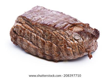 Grilled beef steak isolated on white. Steak BBQ. Hearty steak dinner - stock photo