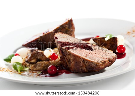 Grilled Beef with Berries and Mushrooms - stock photo
