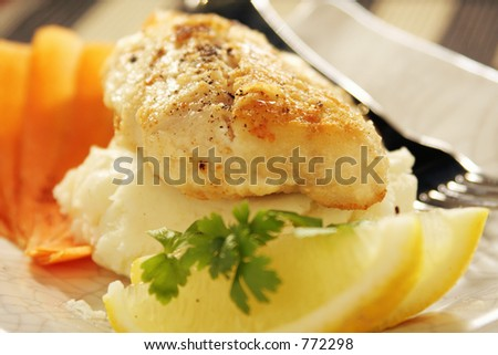 Grilled Blue Grenadier on potato mash with carrot and lemon, served on a titanium white crackle-glazed stoneware platter. - stock photo