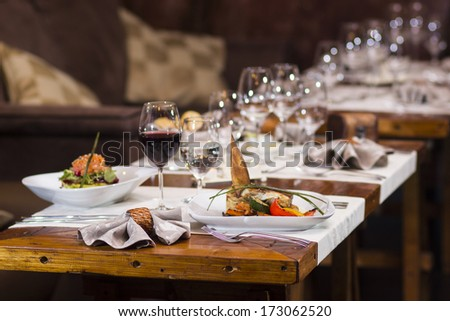 Grilled butter fish fillet served with vegetables - stock photo