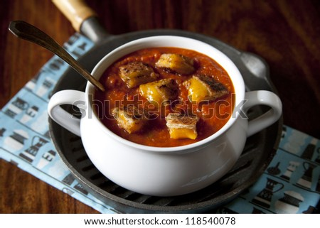 Grilled Cheese Croutons and Tomato Soup - stock photo