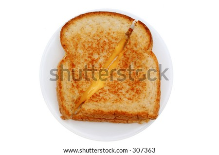 Grilled cheese isolated - stock photo