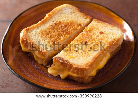 grilled cheese sandwich for breakfast - stock photo