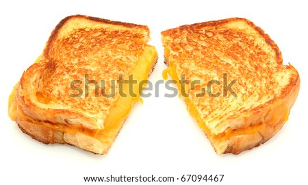Grilled Cheese Sandwich Isolated On White Background - stock photo