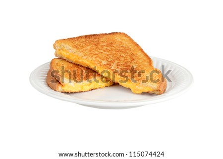 Grilled cheese sandwich on a plate - stock photo