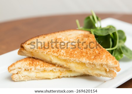 Grilled cheese sandwich on white plate with spinach salad. - stock photo