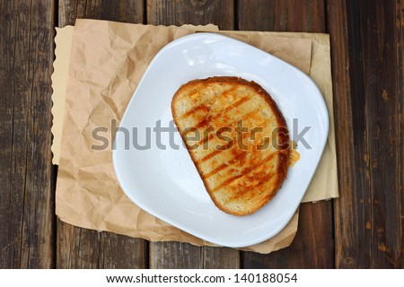 Grilled Cheese Sandwich Served On A Plate - stock photo