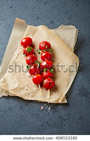 Grilled Cherry Tomato Skewers - stock photo