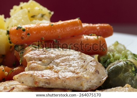 Grilled chicken breast and vegetable on white plate close up - stock photo