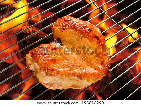 Grilled chicken breast on the flaming grill.