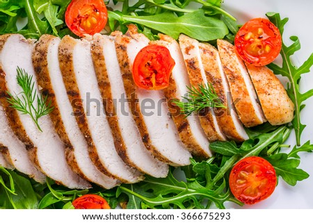 Grilled chicken breast served on lettuce with cherry tomatoes