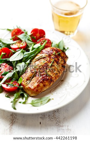 Grilled Chicken Breast with Salad   - stock photo