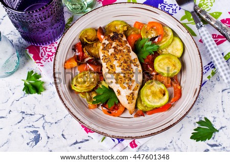 Grilled chicken breast with vegetables. Selective focus. - stock photo