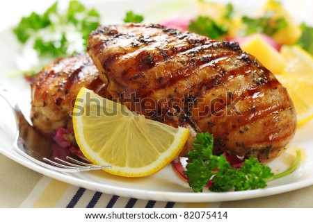 Grilled chicken breast with warm corn and potato salad