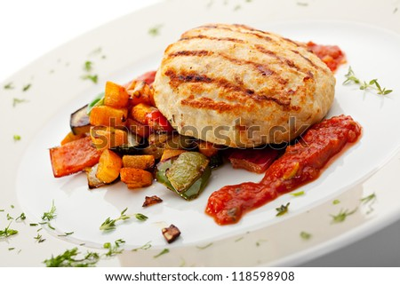 Grilled Chicken Cutlet with BBQ Vegetables and Spicy Sauce