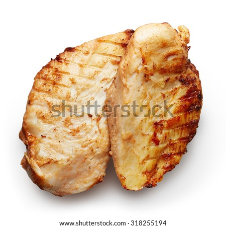 Grilled chicken fillet isolated on white background - stock photo
