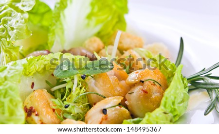 Grilled chicken fillet with fresh vegetables on a white plate