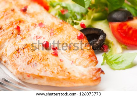 grilled chicken fillet with salad