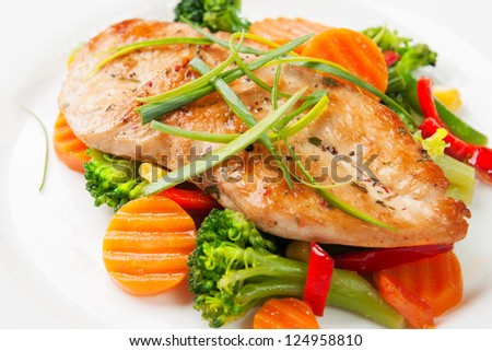 grilled chicken fillet with vegetables - stock photo