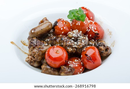 Grilled chicken hearts barbecue with sesame and rosemary - stock photo