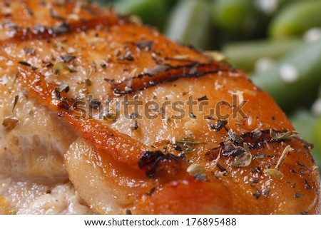 Grilled chicken meat with spices on a background of green beans macro