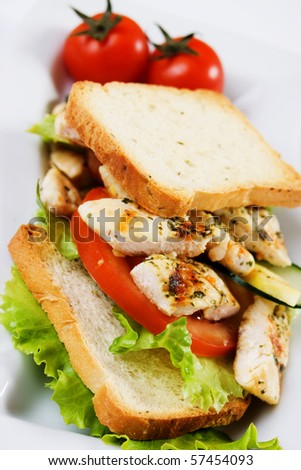 Grilled chicken meat with vegetables and toasted bread